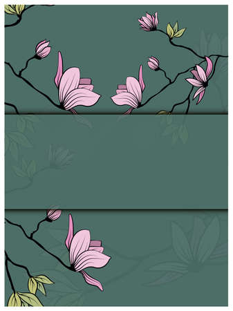 Magnolia branch leaves greeting in beautiful style on white background. Wedding floral decoration. Abstract background. Vector romantic floral illustration 矢量图像