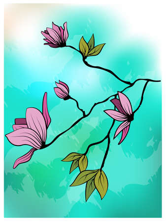 Magnolia branch leaves greeting in beautiful style on blue background. Wedding floral decoration. Vector romantic floral illustration Иллюстрация