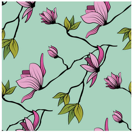 Beautiful japanese seamless pattern with pink magnolia on colorful background for decorative design. Seamless vector pattern