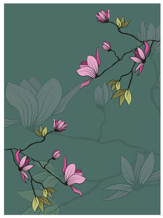 Vintage sketch closeup of pink magnolia branch with leaves on green background for decorative design. Vector romantic floral illustration. Spring background. Hand drawn illustration 矢量图像
