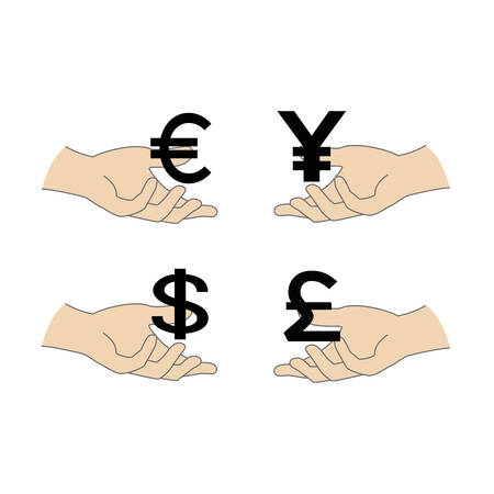 World Currency symbols flat  icons isolated on white background. Dollar, Euro, Pound Sterling, Yen.Vector illustration.