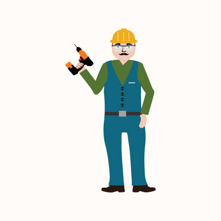 work clothes: Handyman wearing work clothes and a belt with tools.Isolated on white background. Illustration