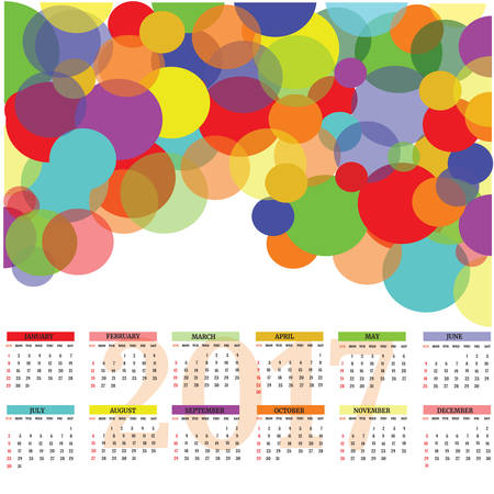2017 Calendar - illustration Vector template of color.