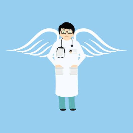 surgeon mask: Doctor angel  flat style. Medical hospital, stethoscope and health. On blue background.