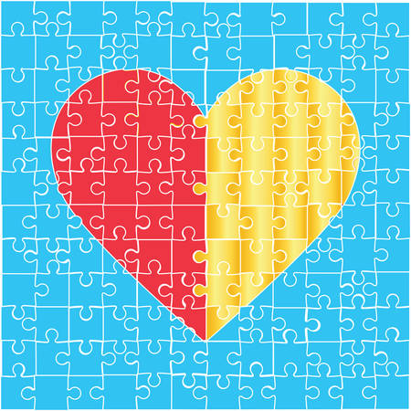 heart puzzle: Heart puzzle icon. On a blue background.