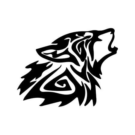 Figure wolf in the form of a tattoo. On a white background.