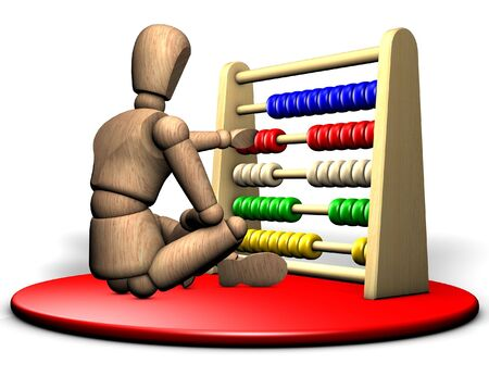 accountants: Somebody solves a complicated problem with the abacus on the red stage