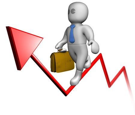 A businessman balancing on the success-arrow upwards photo