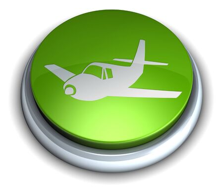 High detailed green aeroplane button