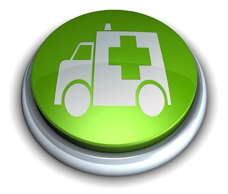 High detailed green ambulance button