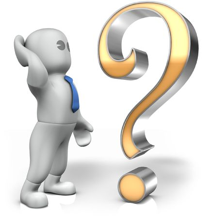a thinking man with a big question mark Stock Photo - 7090587