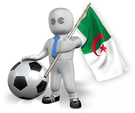 An Algeria football fan with a flag and a ball in South Africa photo
