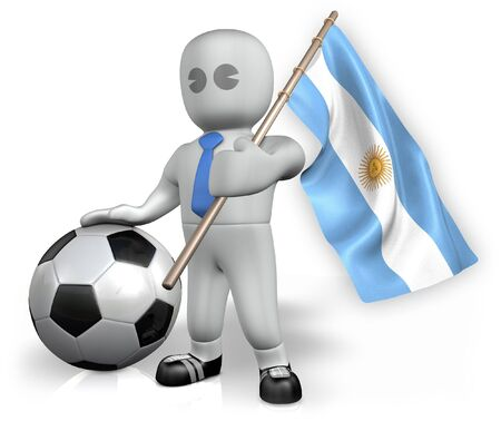 An Argentina football fan with a flag and a ball in South Africa photo
