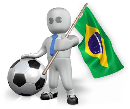 A Brazil football fan with a flag and a ball in South Africa Stock Photo - 7128086