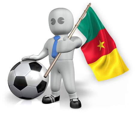 A Cameroon football fan with a flag and a ball in South Africa Stock Photo