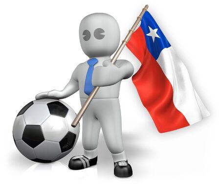 bandera de chile: Un ventilador de f�tbol de Chile con una bandera y una pelota en Sud�frica Foto de archivo
