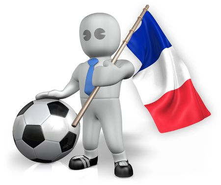A France football fan with a flag and a ball in South Africa Stock Photo