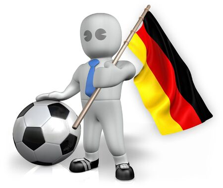 A Germany football fan with a flag and a ball in South Africa