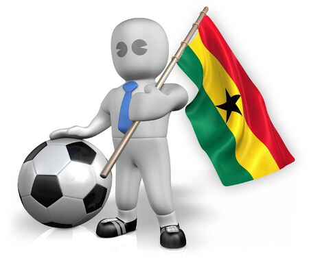 A Ghana football fan with a flag and a ball in South Africa Stock Photo