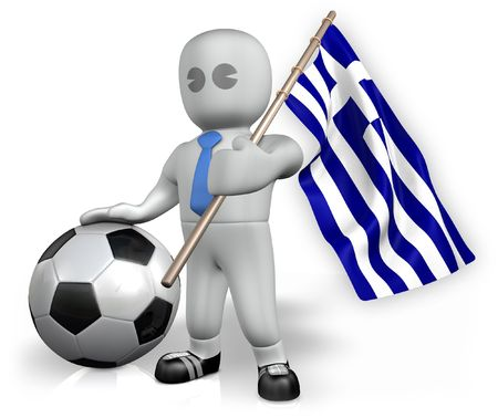 A Greece football fan with a flag and a ball in South Africa