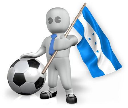 A Honduras football fan with a flag and a ball in South Africa