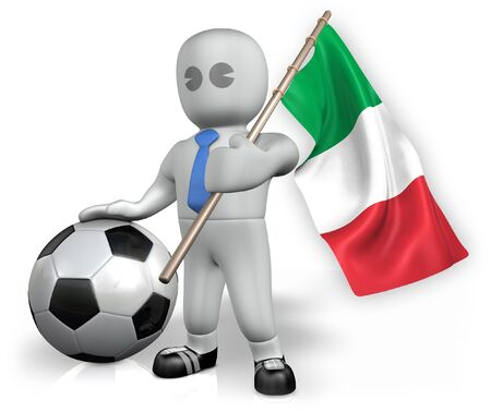 An Italy football fan with a flag and a ball in South Africa photo