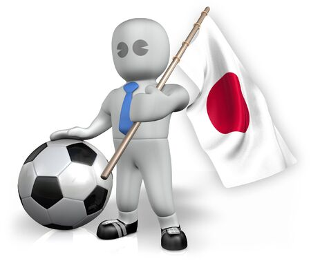 A Japan football fan with a flag and a ball in South Africa photo