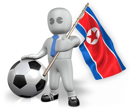 A Korea DPR football fan with a flag and a ball in South Africa
