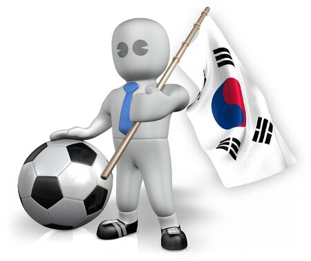 A Korea Republic football fan with a flag and a ball in South Africa