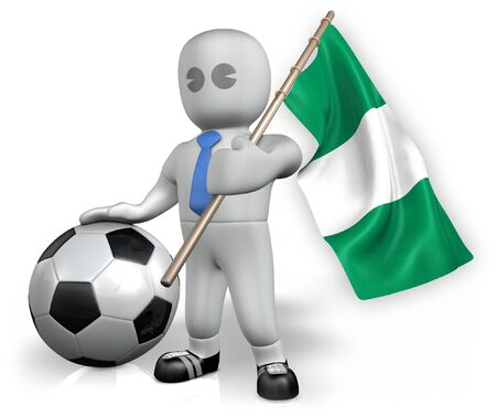 A Nigeria football fan with a flag and a ball in South Africa