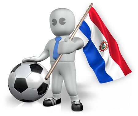 A Paraguay football fan with a flag and a ball in South Africa Stock Photo