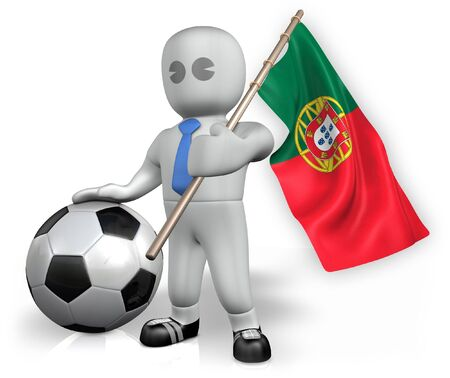 A Portugal football fan with a flag and a ball in South Africa Stock Photo