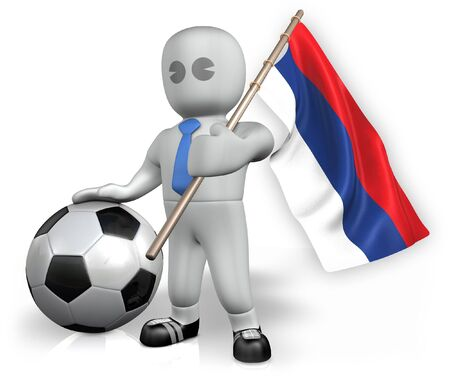 An Serbia football fan with a flag and a ball in South Africa Stock Photo