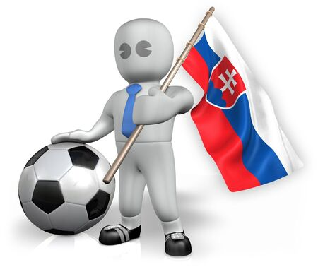 A Slovakia football fan with a flag and a ball in South Africa