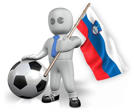 A Slovenia football fan with a flag and a ball in South Africa Stock Photo