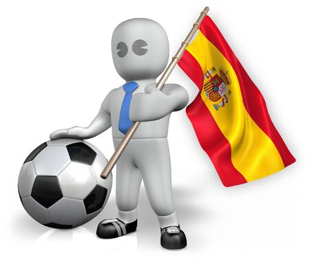 A Spain football fan with a flag and a ball in South Africa Stock Photo