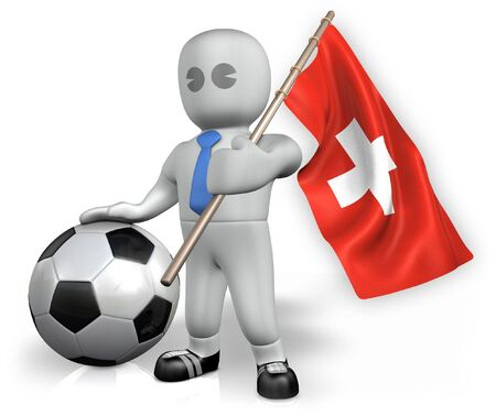 A Switzerland football fan with a flag and a ball in South Africa Stock Photo