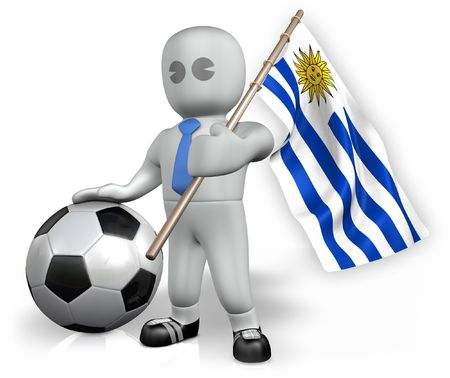 An Uruguay football fan with a flag and a ball in South Africa