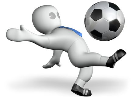 a footballer shoots a goal Stock Photo