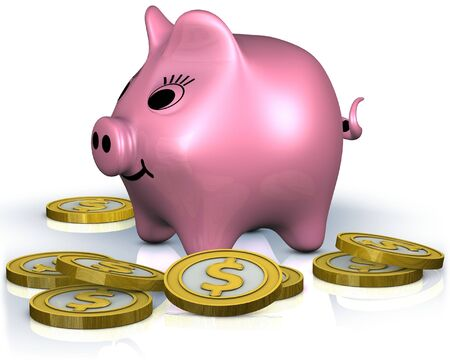 A fat smiley piggy bank standing in the centre of dollar coins Stock Photo