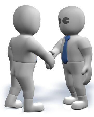 Two 3d businessmans give their hand for handshake Stock Photo