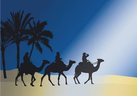 trotando: Tres jinetes de camellos al trote a trav�s de la noche oscura bajo las palmeras en la luz