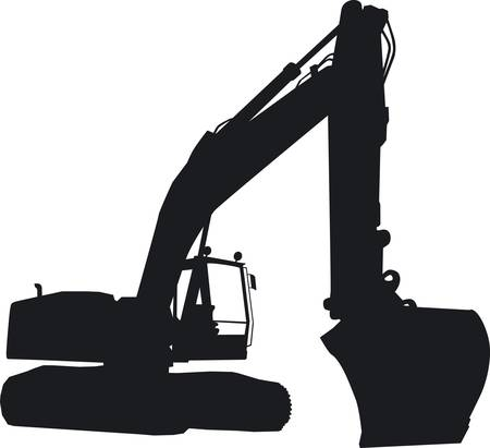 A tracked excavator at work