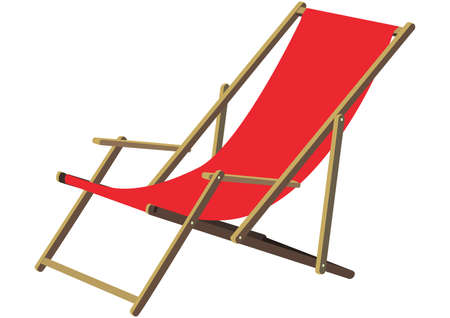 deck chair: A classic wooden sun deck chair with red fabric ldt to relax gemtlichen A Deckchair