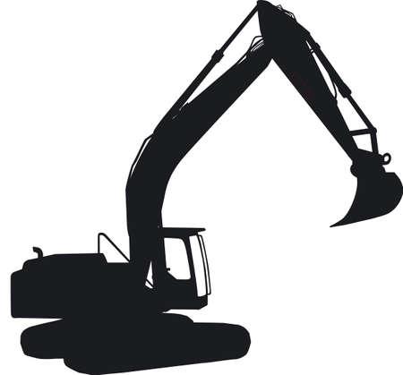 digging: Excavator silhouette