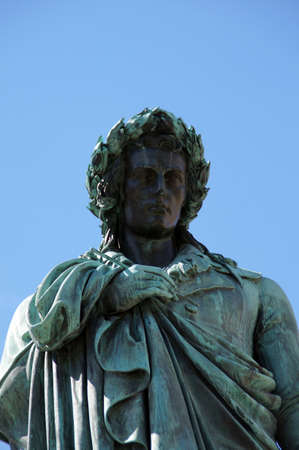 ballad: The Schiller memorial in Stuttgart at the Friedrich Schiller Schiller Square is one of the biggest poet and playwright, his ballads and poems today are still haunting and timeless simply awesome Stock Photo