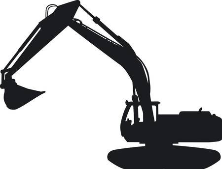 earthwork: Seen a tracked excavator with its impressive blade of the page Illustration
