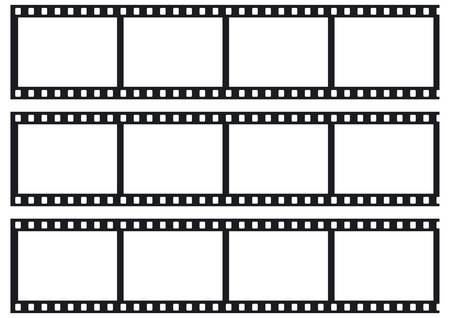 Three film strips as a symbol or synonym for photo presentation, slideshow or image selection