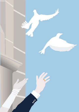 Two white pigeons rise before an old church in the sky  The hand of the bride and groom waving after the pigeons  A symbol for wedding, love, happiness and a good luck charm Stock Vector - 27563348