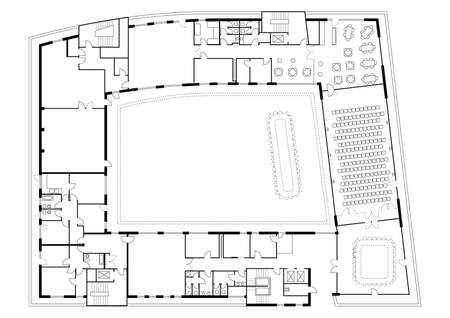 renting: Floor plan of a major building  Furniture and sanitary equipment are also shown detailed  Illustration